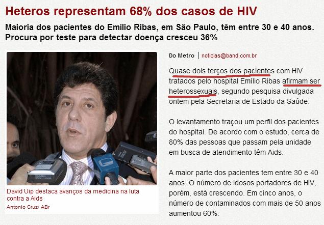 Maior parte dos casos de HIV são entre heterossexuais