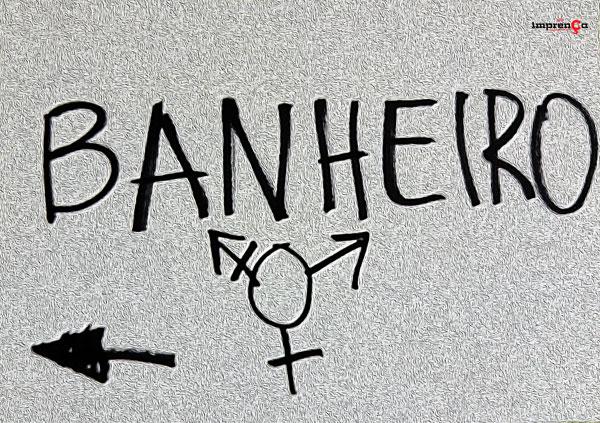{{Placa indicando o banheiro no Centro Florescer - Foto: Victor Amatucci}}