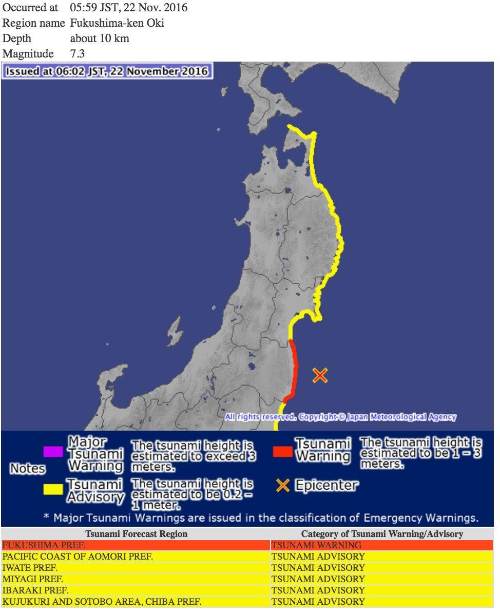 Terremoto de magnitude 7,3 atinge Fukushima, no Japão