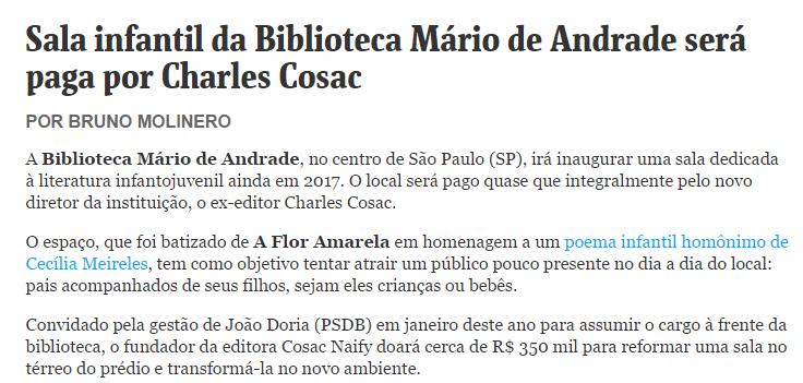 Sala infantil da Biblioteca Mário de Andrade será paga por Charles Cosac