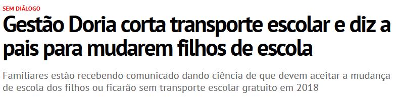 Gestão Doria corta transporte escolar e diz a pais para mudarem filhos de escola