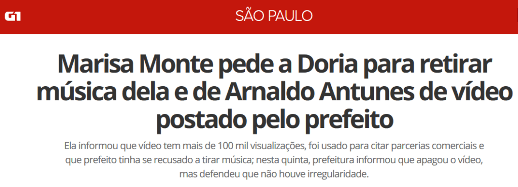 Marisa Monte pede a Doria para retirar música dela e de Arnaldo Antunes de vídeo postado pelo prefeito