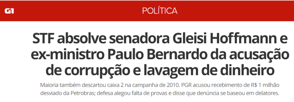 STF absolve Gleisi