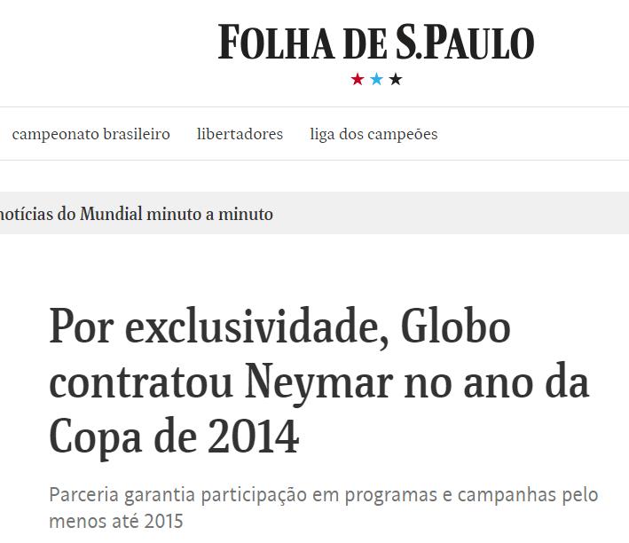 Jornalismo da Globo tem contrato com Neymar