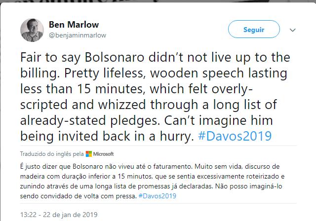 """Ben Marlow, do Daily Telegraph, chama o discurso de Bolsonaro de """"sem vida"""""""