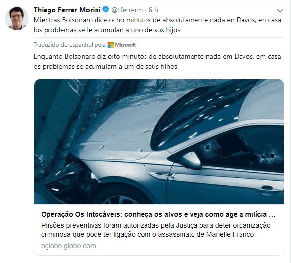 Thiago Ferrer, do El País Espanha, fala sobre o vazio do discurso de Bolsonaro em Davos