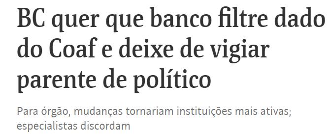 Banco Central quer limitar atuação do COAF