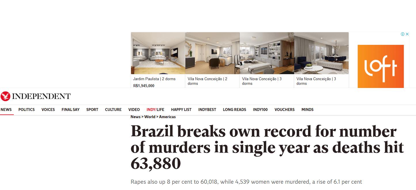 The Independent: Brasil bate seu próprio recorde e número de assassinatos em um único ano atingem 63,880