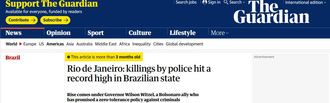 The Guardian - Rio de Janeiro: mortos pela polícia batem recorde em estado brasileiro