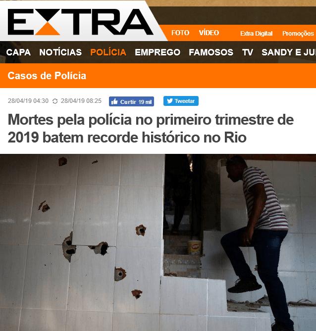Mortes pela polícia no primeiro trimestre de 2019 batem recorde histórico no Rio