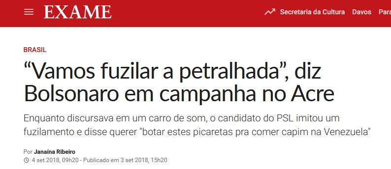 Bolsonaro ameaça fuzilar petistas